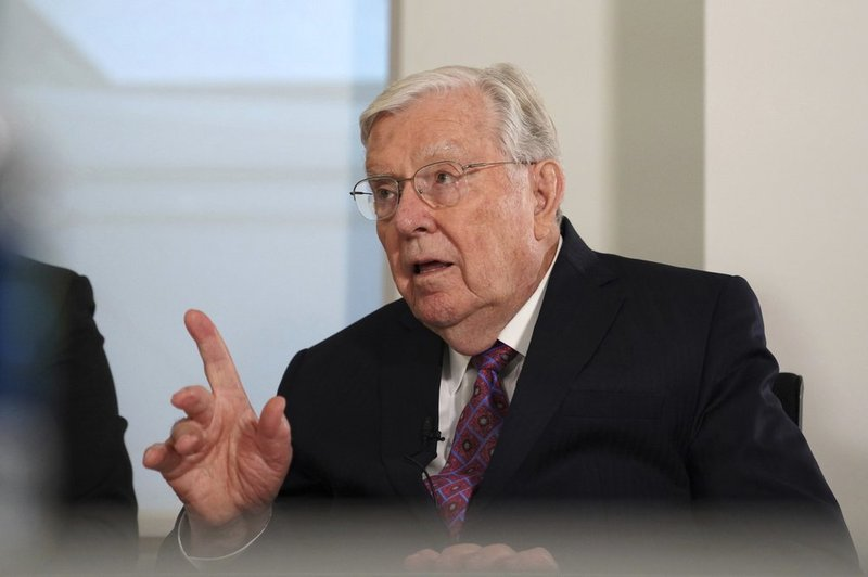 M. Russell Ballard, a senior leader of The Church of Jesus Christ of Latter-day Saints and acting president of the Quorum of Twelve Apostles, speaks during an interview, Friday, Nov. 15, 2019, at the Associated Press headquarters in New York.