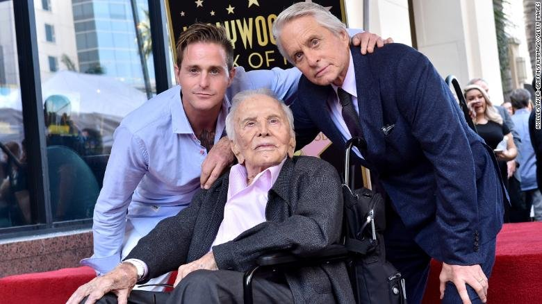Cameron Douglas, Kirk Douglas and Michael Douglas attend the ceremony honoring Michael Douglas with star on the Hollywood Walk of Fame on November 06, 2018 in Hollywood, California. (CNN)