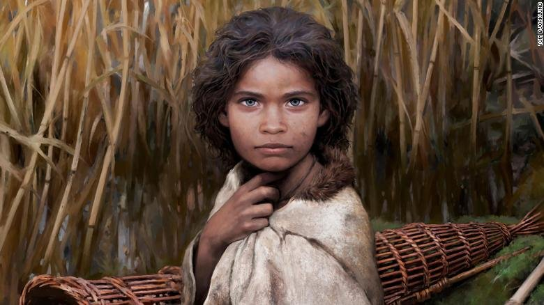 This is an artistic rendering of Lola, a young girl who lived 5700 years' ago