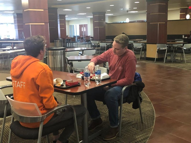 Garrett Chadd and Xander Swayne eating lunch at the WSU Rhatigan Center on Monday, January 6, 2020.