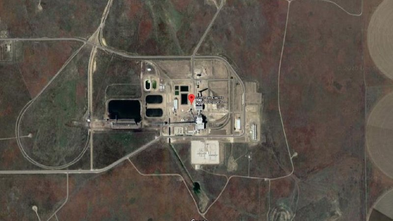 Satellite view of the Holcomb power plant via Googlemaps