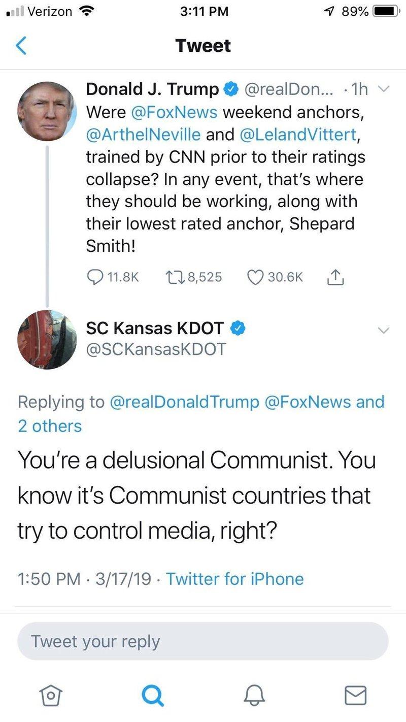 KDOT tweet calls President Trump a 'delusional communist'