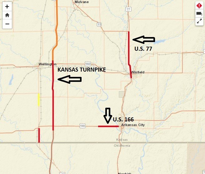 Kansas Turnpike reopens south of Wellington after flooding on kansas county map, detailed map kansas with counties, kansas main cities, kansas map with all counties, kansas state highway map, kansas state on map, kansas counties and cities list, kansas highway mile markers, kansas driving map, kansas zip codes by county, kansas map of america, large map of kansas counties, map of kansas showing counties, kansas map cartoon, kansas map with all cities, eastern kansas counties, kansas-nebraska map with counties, map of kansas towns and counties, kansas highway road conditions, kansas map with counties shown,
