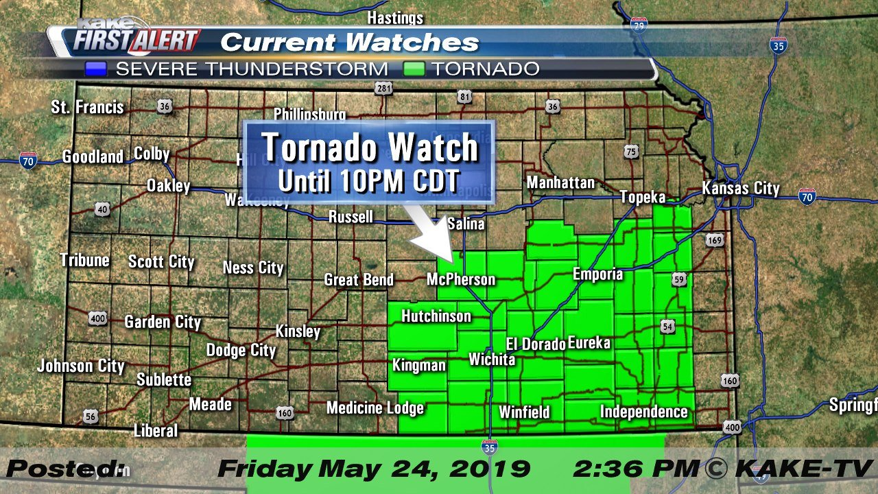 Tornado watch and flash flood warnings for parts of Kansas