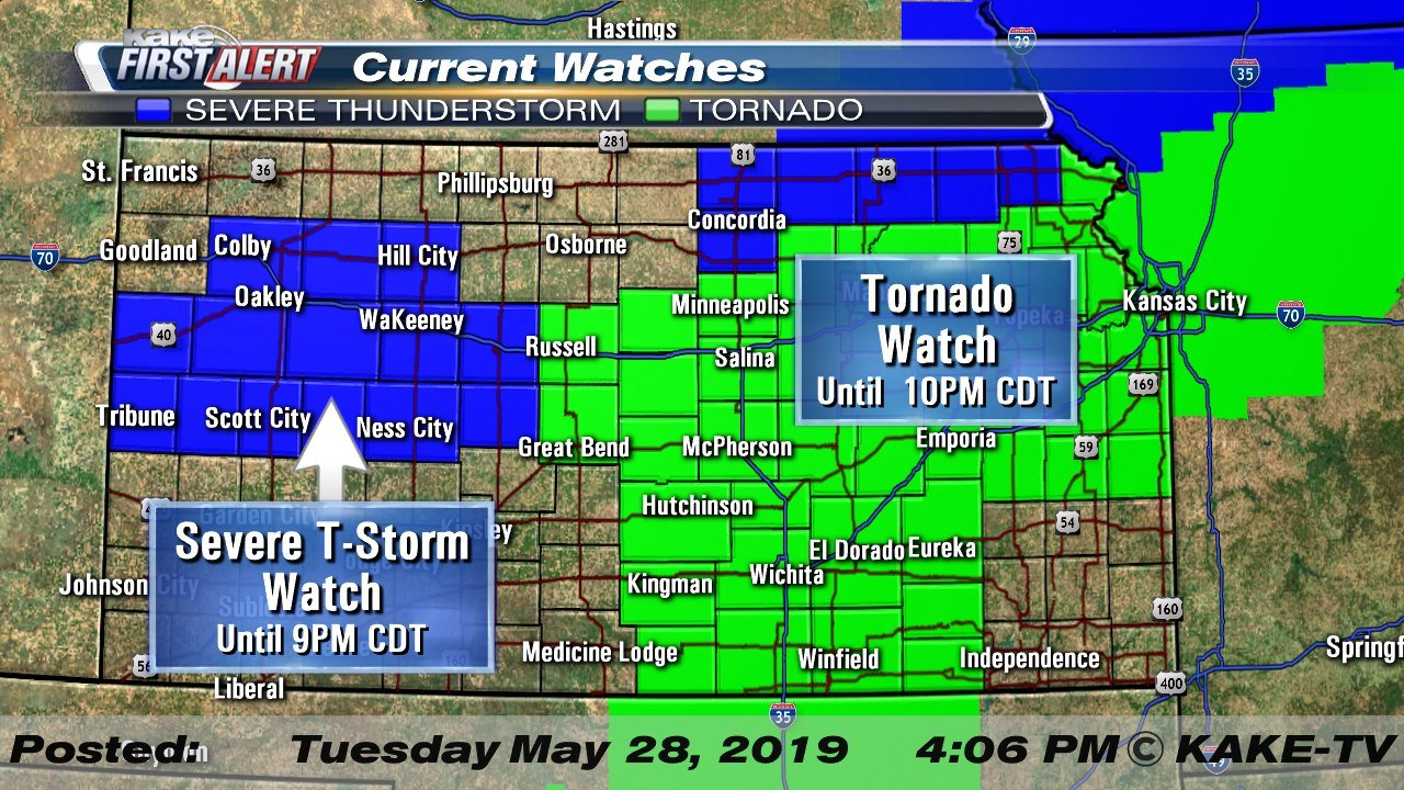 Tornado Watch issued for dozens of Kansas counties on kansas snowfall map, kansas snow map, kansas county map, kansas territory map, wichita kansas map, kansas historical maps, razorback map, kansas water map, kansas wildlife and nature photography, kansas map with all cities, kansas attractions, kansas precipitation map, sedalia kansas map, kansas topo map, kansas weather, kansas ok map, tornadoes kansas map, kansas wind map, kansas drought map, kansas sinkhole map,