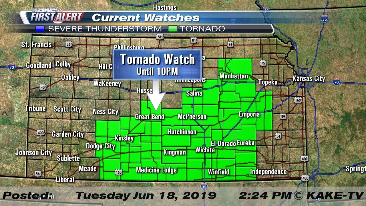 Tornado Watch issued for parts of Kansas on kansas snowfall map, kansas snow map, kansas county map, kansas territory map, wichita kansas map, kansas historical maps, razorback map, kansas water map, kansas wildlife and nature photography, kansas map with all cities, kansas attractions, kansas precipitation map, sedalia kansas map, kansas topo map, kansas weather, kansas ok map, tornadoes kansas map, kansas wind map, kansas drought map, kansas sinkhole map,