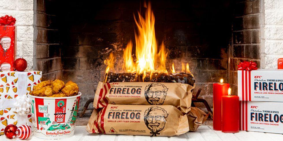 NEW KFC FIRE LOG  11 HERBS AND SPICES ENVIROLOG KENTUCKY FRIED CHICKEN FIRELOG