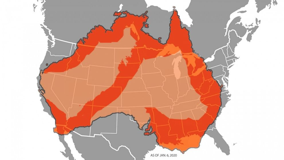 Scale of Australia\'s fires compared to map of United States give