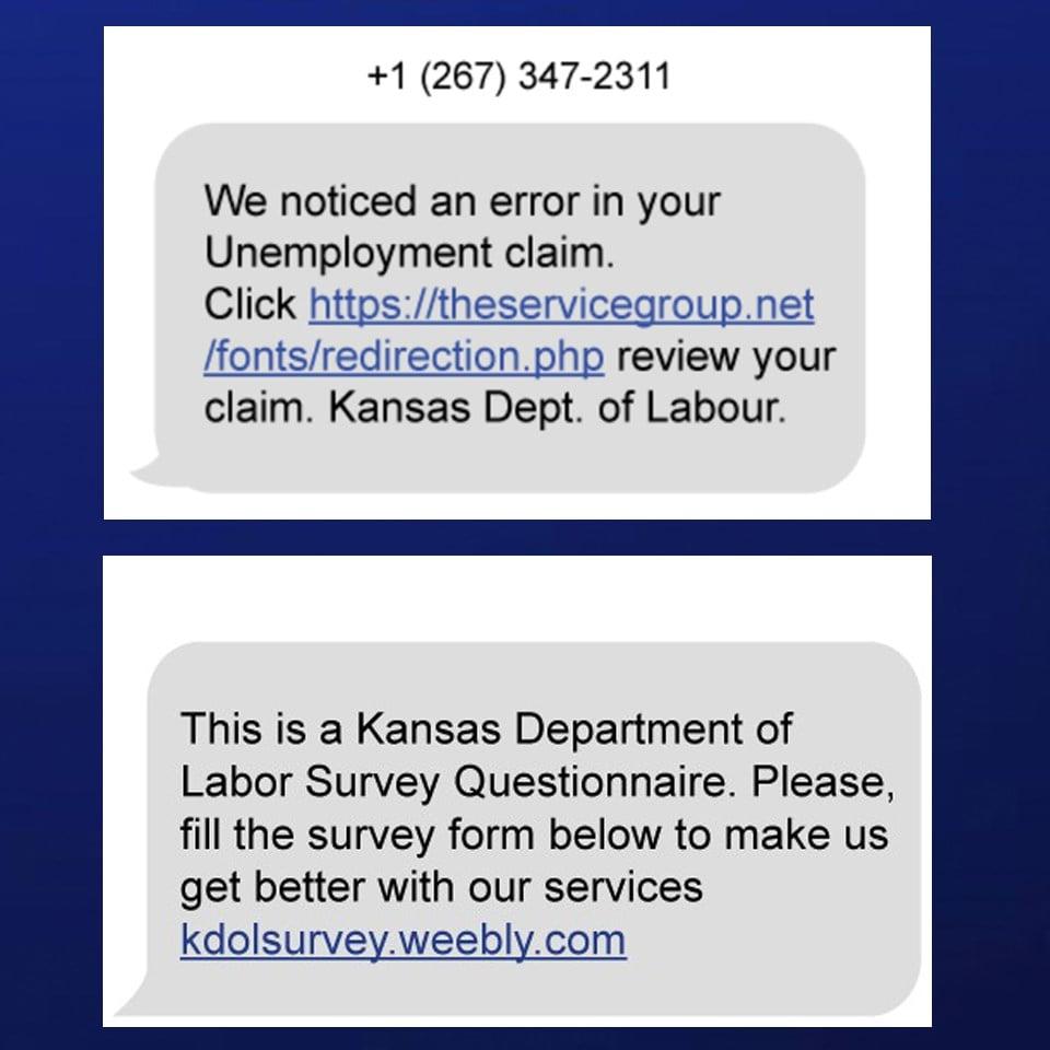 Unemployment Scam message Picture.